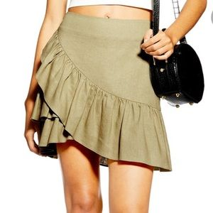 NWT Topshop olive green ruffled faux wrap skirt